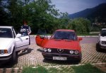 Next sommer in my hometown. Left to my Alfa stands BMW 520, though with 150 HP inferior car :). Next to it it's my mother, behind the wheel of my Alfa is my sister, the same kid from Alfasud page.
